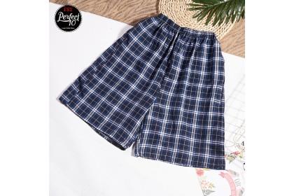 FST 100% Cotton Casual Shorts Men's Pants Beach Plaid Shorts