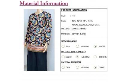FST Muslimah S-5XL Plus Size Flora Batik Long Sleeve Fashion Blouse Baju Raya 2020 [756_3]