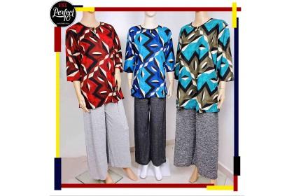 FST Blouse Art Design with Button / Blaus Butang Depan Corak Seni [6118-2]