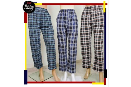 FST 100% Cotton Casual Long Men's Pants Plaid Long Pants / Seluar Pelekat panjang [Long-4080]