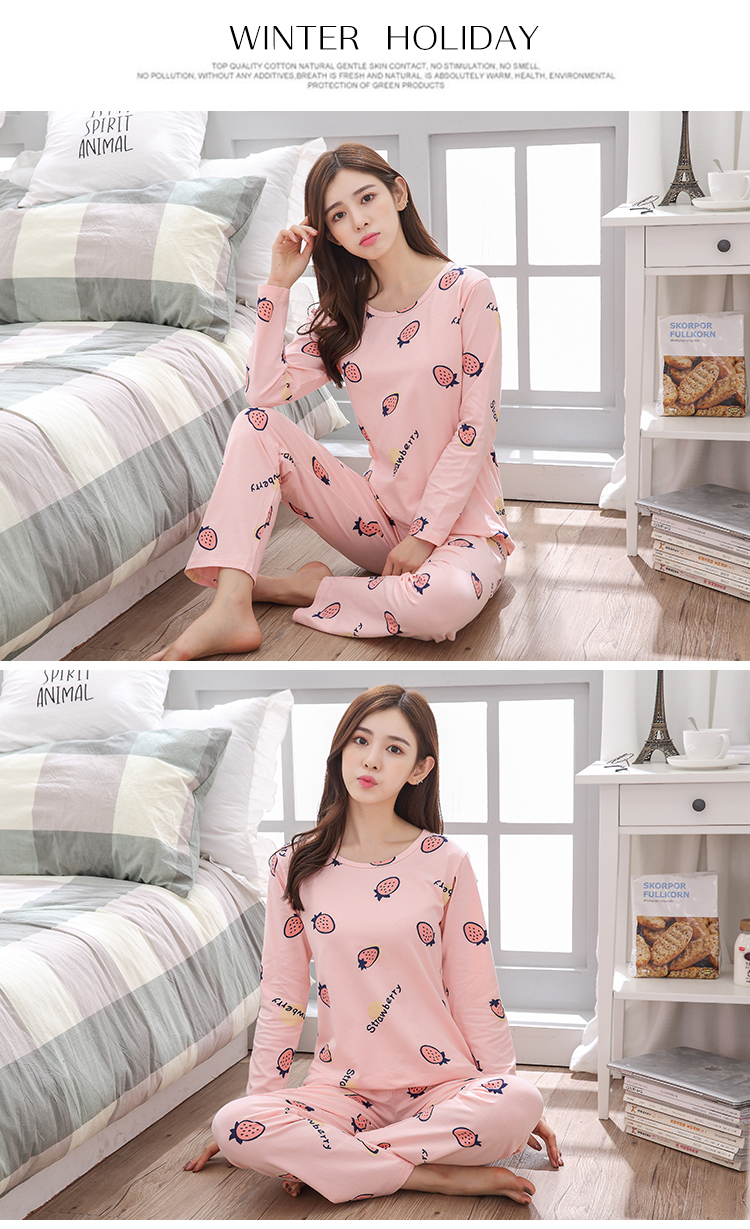 FST Premium Quality Comfortable Silk Fabric Long Sleeve and Long Pant Pink Strawberry Pyjamas / Set Baju Tidur Elegant design [6011]
