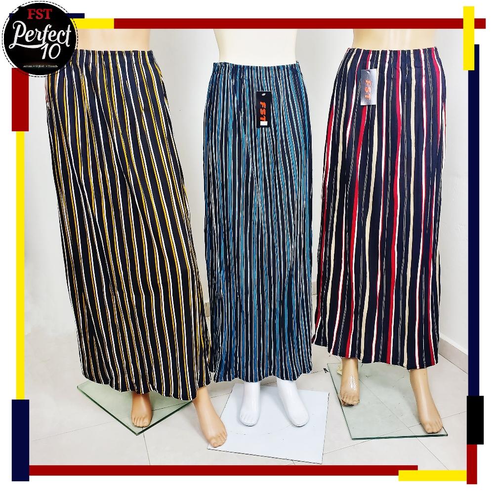 FST Long Pleated Colour Line Skirt Cutting A / Skirt Kembang Berlipat [LT8078 / LT6100]