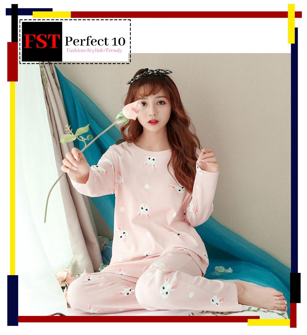 FST Premium Quality Comfortable Silk Fabric Long Sleeve and Long Pant Pink Rabbit Pyjamas / Set Baju Tidur Elegant design [6046]