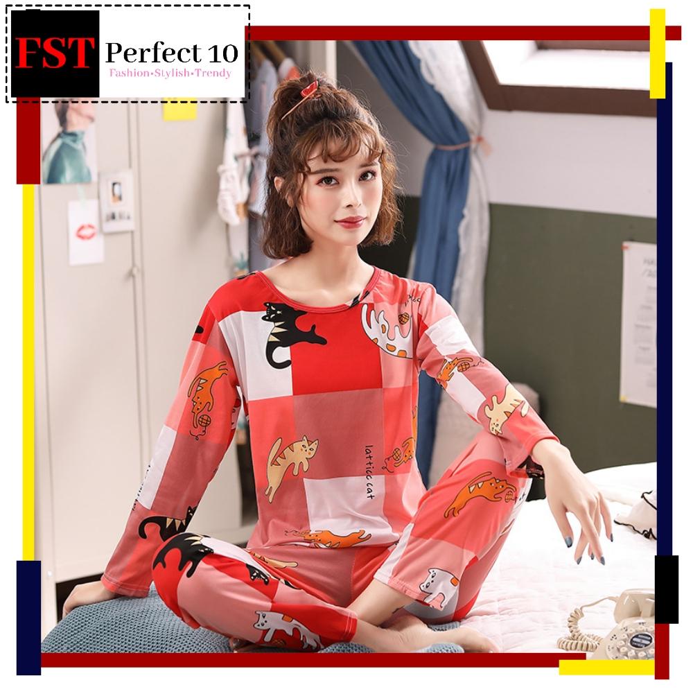 FST Premium Quality Comfortable Silk Fabric Long Sleeve and Long Pant Red Cat Pyjamas / Set Baju Tidur Elegant design [6045]