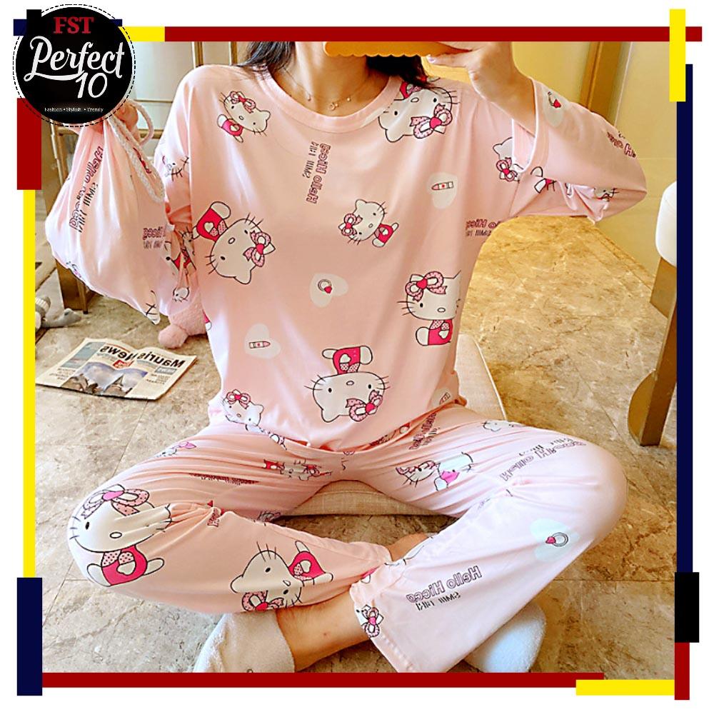 FST Premium Quality Comfortable Silk Fabric Long Sleeve and Long Pant Light Pink Hello Kitty Pyjamas / Set Baju Tidur Elegant design [6033]